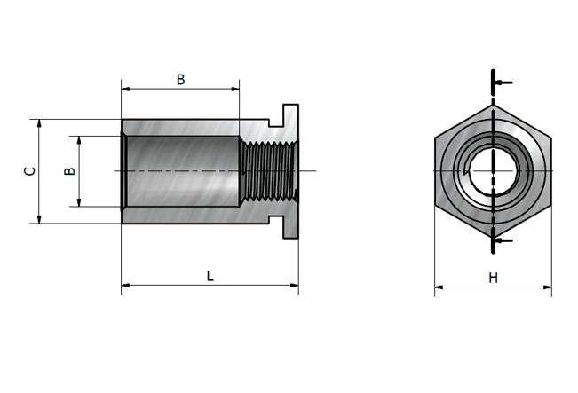 Desenho técnico do espaçador roscado JSO