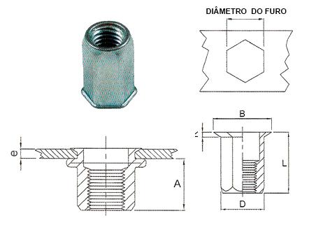 Desenho técnico do Rebite sextavado rosca interna aberto