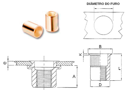 Desenho técnico do Rebite rosca interna Cabeça Fina