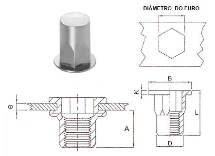 Desenho técnico do rebite rosca interna semi-sextavado plano