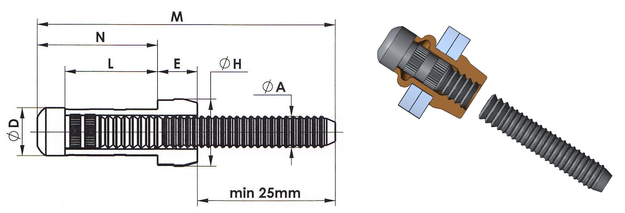 desenho técnico do rebite mega orlock