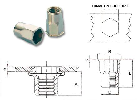 Desenho técnico do rebite rosca interna semi-sextavado fino