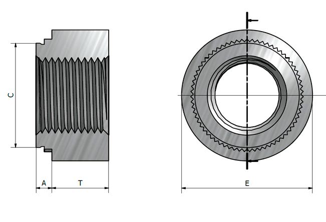 Desenho técnico das porcas tipo JS e JCLS