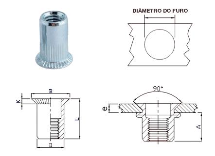 Desenho técnico da Cabeça Escariada