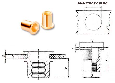 Desenho técnico do Rebite rosca interna latão plana