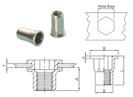 Desenho técnico do rebite rosca interna sextavado plano