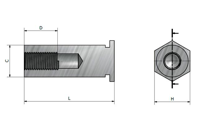 Desenho técnico do espaçador roscado JBSO