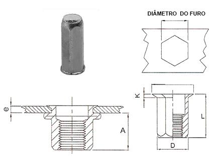 Desenho técnico do rebite rosca interna sextavado fino