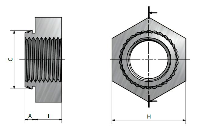 desenho técnico da Porca Sextavada JBOB