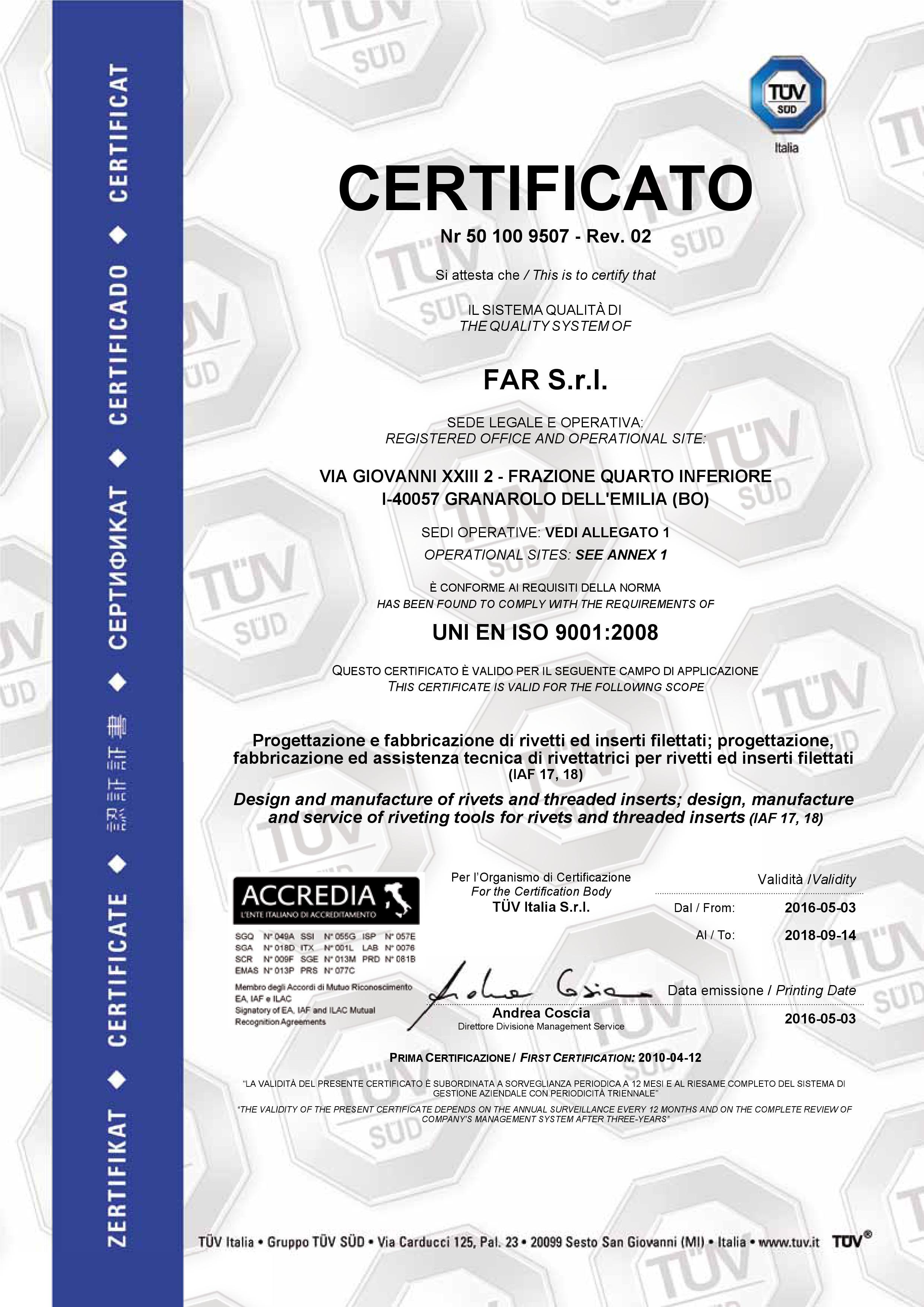 Certificado FAR